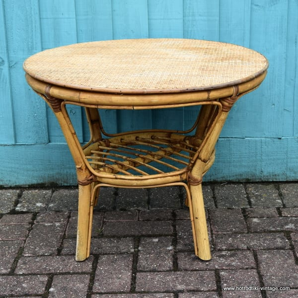 Vintage Bamboo Round Occasional Table 1