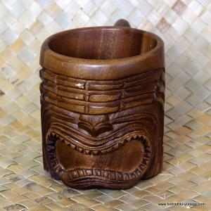 Vintage Carved Wooden Handled Tiki Mug 3-1