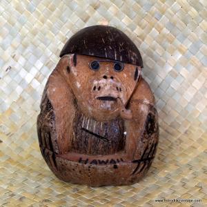 Vintage Hawaiian Coconut Monkey Money Bank 1