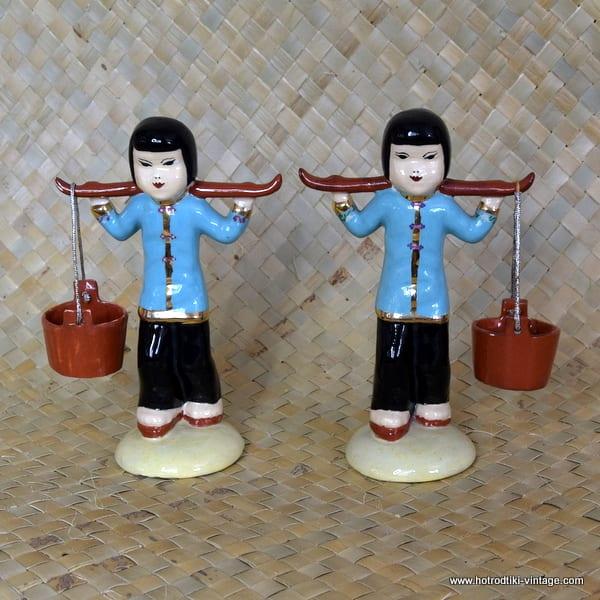 Vintage Pair of Oriental Water Carrier Figures 1