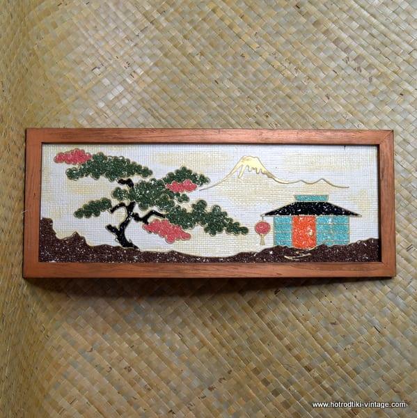 1950's Gravel Art Oriental Scene Picture 1