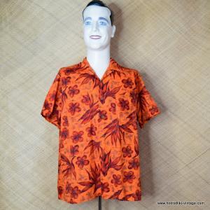 1960's Mens Waikiki Wear by Duke of Hollywood Red Hawaiian Shirt 1