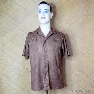 1970's Vintage Mens Man Alive Brown Polyester Shirt 1