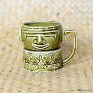 Vintage Japanese Green Handled Tiki Mug Similar to Westwood 1