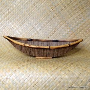 Vintage Style Bamboo & Reed Boat Shaped Dish 1