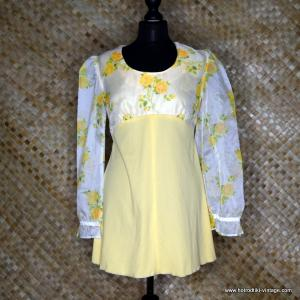 1960's Ladies Yellow Mini Dress with Chiffon Sleeves 1