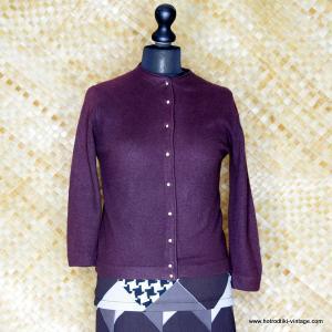 1960's Vintage Ladies Dark Brown Futura Lon Cardigan 1