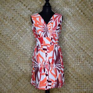 1960's Vintage Polyester White & Red Dress 1