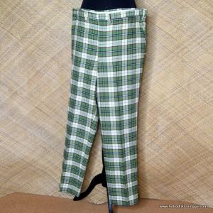 1960's Mens Green Checked American Trousers 1