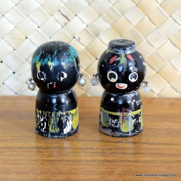 Vintage Japanese Wood Salt & Pepper Shakers 1