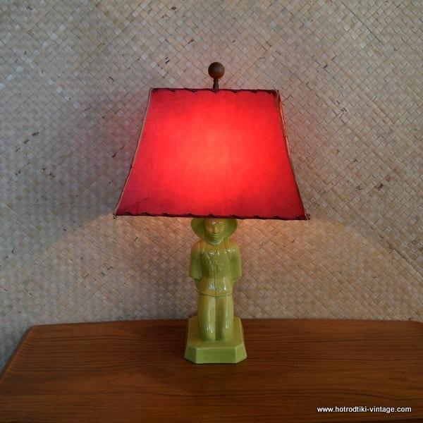 1950's American Green Oriental Man Table Lamp 1