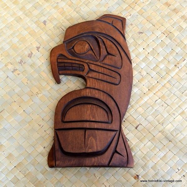 Vintage Wooden Kwakiutl Hawk carving 1